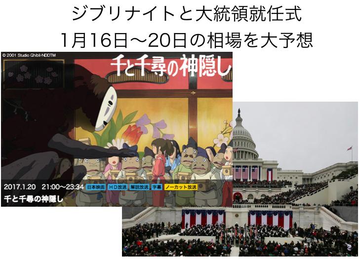 相場予測:17年1月16日〜20日「大統領就任式とジブリナイトに要注意」(1/17修正)