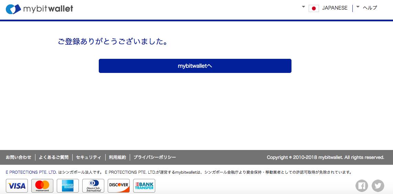 mybitwallet登録開設「登録完了」