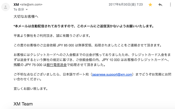 XM出金処理完了のメール